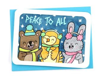 Holiday Card Peace to All Carolers - Christmas card, season's greetings, Cute christmas card, holiday notecard, Animal holiday card, peace