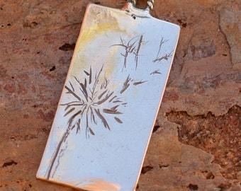 Artisan Dandelion Pendant, Sterling Silver Dandelion, AD-628