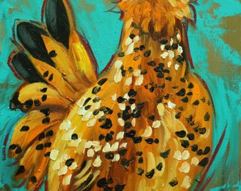Rooster 841 12x16 inch animal portrait original oil painting by Roz