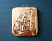 House Copper Mold - Square Wall Decor Manor Plaque with Brass Hook French Country Decor Shabby Chic Cottage Farmhouse Housewarming Gift