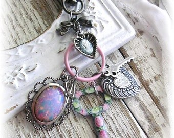 Silver Purse Pull Bag Zipper Charms Purse Clip Hand Painted Antique Skeleton Key Opal Cameo Flowers Pink Rose Shabby Chic Upcycled
