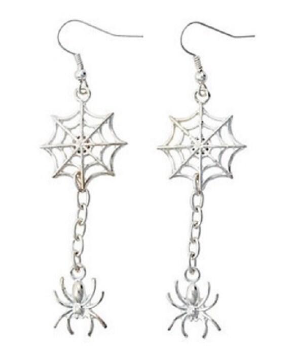 Silvertone Spider & Spider Web Earrings