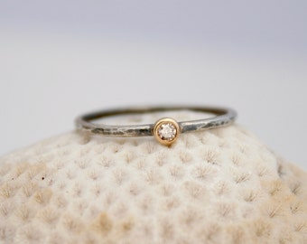 petite champagne diamond ring, mixed metal ring, silver and gold stacking ring,  Rachel Wilder Handmade Jewelery