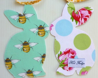 Bunny Garland, Baby Shower, yellow tape, double sided fabric