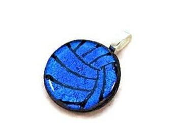 Volleyball Necklace, Water Polo Ball Necklace, Volleyball Jewelry, Water Polo Jewelry, Dichroic Glass Jewelry, Athlete Gift, Royal Blue Team
