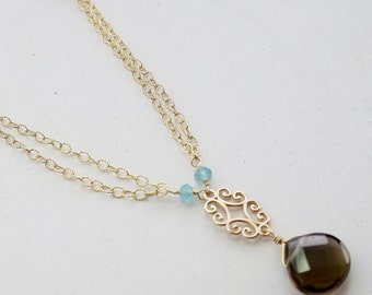 SAMPLE SALE | Vintage Style Gemstone Necklace in Gold