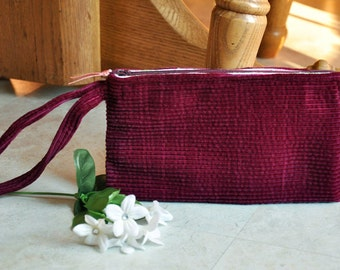 Zippered wristlet, upcycled corduroy wristlet, burgundy wristlet wallet, maroon clutch wristlet, small recycled handbag with zipper
