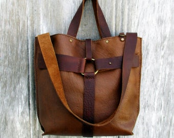 Equestrian Harness Bag in Two Tone Brown Leather by Stacy Leigh