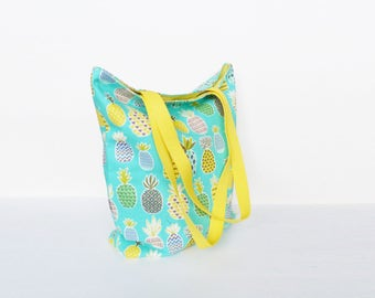 Tote bag, pineapple fabric, turquoise blue and yellow pineapple design, cotton bag