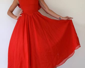 SUMMER SALE / 20% off Vintage 50s does 80s Red Cotton Voile Backless New Look Sun Dress (size xs, small)