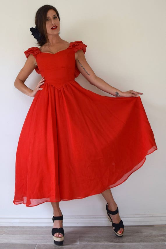 Vintage 50s does 80s Red Cotton Voile Backless New Look Sun Dress (size xs, small)