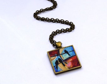 Bird Necklace , One of a Kind, Original Painting, Bird Pendant , Stocking Stuffer, Wearable Art, Red, Necklace, Handpainted