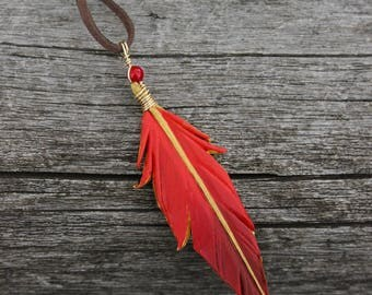 Red and Gold Phoenix Feather - Leather Firebird Bird Feather Pendant - 3 inches