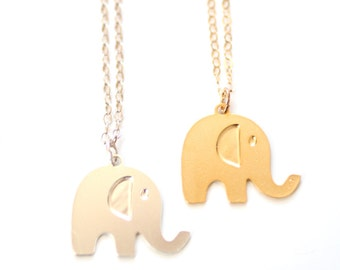 Elephant Necklace - Gold or Silver Plated   14k Gold Fill or Sterling Silver Chain
