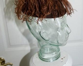 Vintage 30's Brown Felt Tilt Toy Ostrich Feather Womans Hat