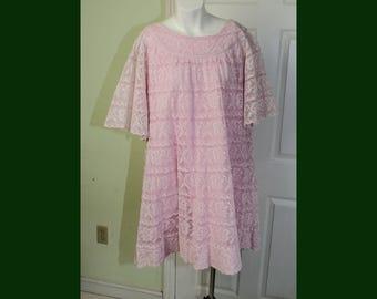 Vintage 1960's Pink Mexican Lace Tent Mini Dress