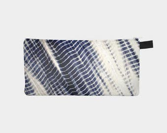 Shibori 32 Japanese Indigo Tie Dye Cosmetic Bag Travel Pencil Pouch