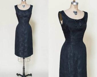 1960s Brocade Dress --- Vintage Black Dress