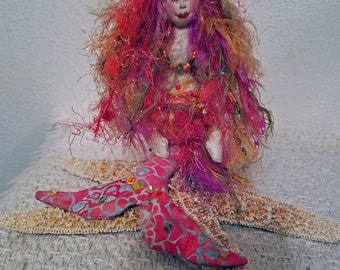 OOAK, Exquisite fiber sculpted mermaid sculpture sitting on real starfish, silk upper body and face, Swarovski crystal accents