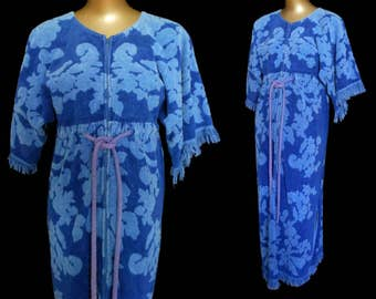 Vintage 70s Terry Cloth Towel Maxi Dress, 1970s Blue Boho Zip Front Caftan, Size S to M Small to Medium