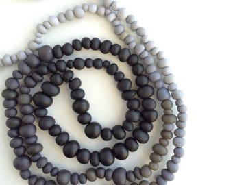 Ombre necklace, grey, beaded, opera length, everyday,