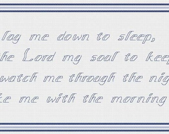 Cross stitch pattern - Angels Watch Me wording - Now I Lay Me Down to Sleep PDF - Boy - fair skin - brown hair - INSTANT DOWNLOAD