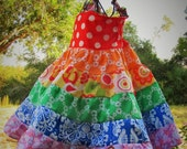 Girls Rainbow Party Dress Cotton Twirl Dress Size 2 3 4 5 6 7 8 10 12