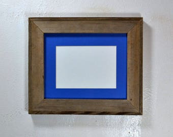 Picture frame gallery style 5 x 7 blue mat in 8x10 frame from rustic reclaimed wood ready to ship free shipping