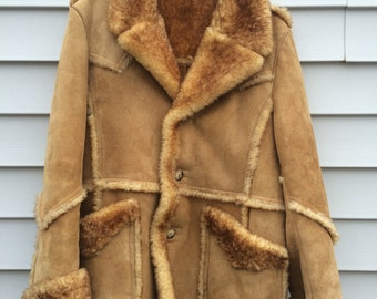 Vintage 70s Genuine Sheepskin Coat Bermans Shearling tan hippie heavy winter rancher shearling 1970s sheepskin jacket MENS Size 44 Large