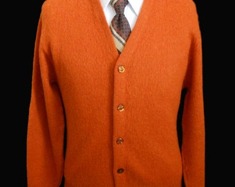 Vintage 60s Mens Golf Cardigan Sweater, 1960s Mohair Blend Burnt Orange Grandpa Golf by Arena, Size Medium to Large