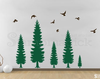Pine Tree Wall Decal with Flying Birds - Pine Forest Wall Art - Vinyl Christmas Tree Sticker Home Decor  - K420