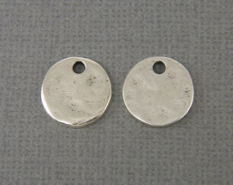 Small Silver Stamping Blank Antique Silver Round Circle Tag Mini Tiny Textured Layering Pendant Hammered Disc Pendant Charm |NU3-3|2 XN