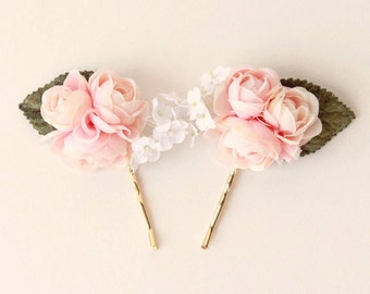 Pink OR White bobby pins, Pastel floral hair pin set, Ranunculus hair clips, Pink flower headpiece, bridal hair accessory, wedding pins