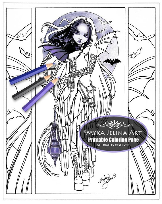 Morgan gothic fairy vampire art digital download for Myka jelina coloring pages