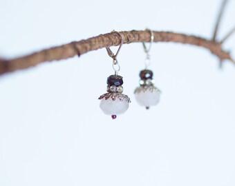 Pink Earrings Dangle Earrings Romantic Valentine Gift for Wife Gift for Bride Gift for Her Gift under 30 Rose Quartz Rhinestone Amethyst