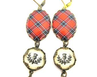 Scottish Tartan Jewelry - Ancient Romance Series - Dunbar Red Clan Tartan Earrings w/Thistle Charms & Mystic Black Swarovski Crystal Pearls