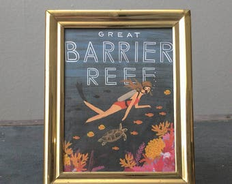 Great Barrier Reef Watercolor Small Framed Print