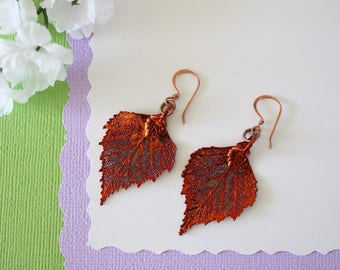 Birch Copper Leaf Earrings, Birch Leaf, Real Leaf Earrings, Copper, Nature, Birch Earrings, Copper Earrings, LESM184
