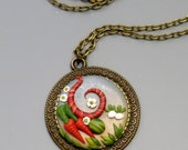 Reserve Listing, Custom Pendant Necklace, Polymer Clay in Antique Brass Bezel