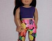 18 inch doll clothes,  purple crop top, gum drop print cropped leggings, Upbeat petites