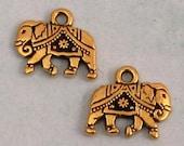 TierraCast Gita Elephant Charm, Antique Gold, 2 Pc. TG22