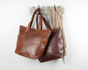 Large Leather Shopper Tote Purse, Tan and Dark Brown