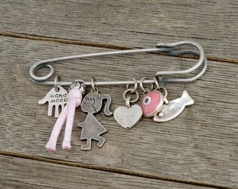 Pink Baby Pin Brooch Keepsake with Lucky Protection Charms for New Baby Girl