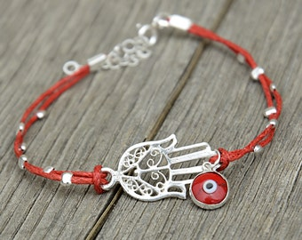 Evil Eye Glass Charm & Sterling Silver Middle Eastern Hamsa Hand on Red Double Cord Bracelet for Women