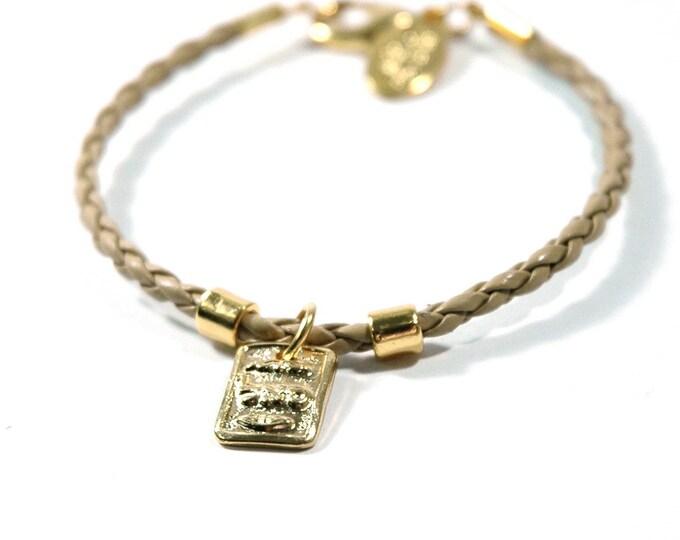 """Kabbalah Abundance Gold Tone Charm on Camel Leather Braided Bracelet - Size 7"""""""