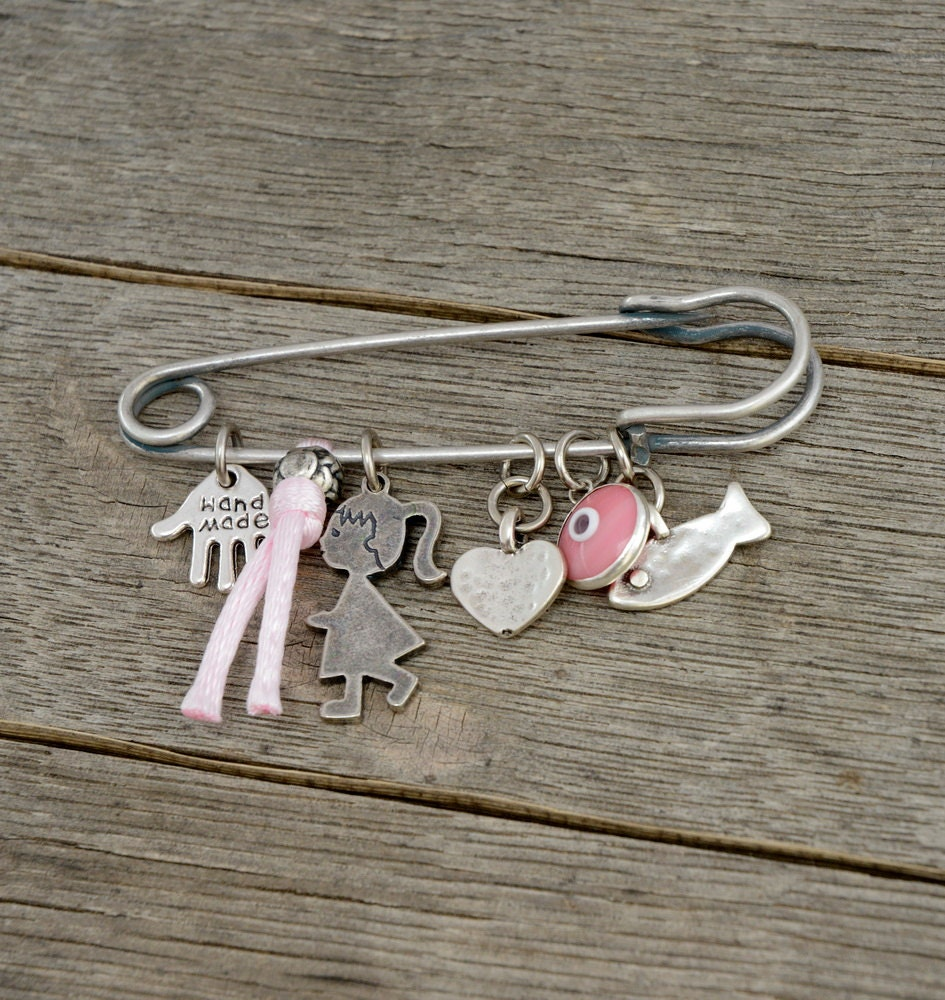 Pink Baby Pin Brooch Keepsake with Lucky Protection Charms for New ...