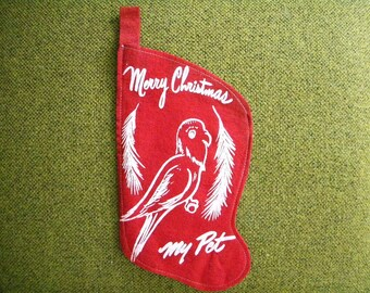 Vintage Felt Christmas Stocking for a Pet with Bird on the Front