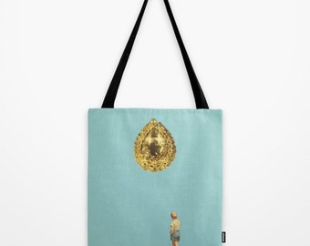 Tote Bag - think big - surreal vintage-inspired collage art for the dreamer and risktaker