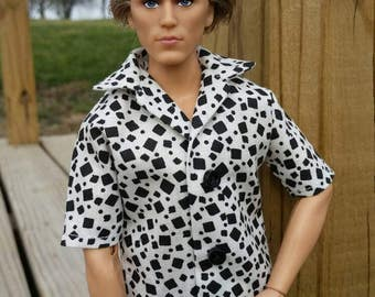 Ken Shirt  Black and White Print Ready to Ship Ken Clothes Barbie Clothes Fashionista Tall Barbie
