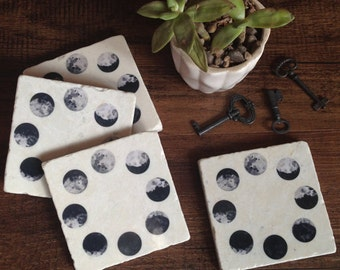 Moon Phases - stone coasters, celestial, gift for her, astrology, astronomy